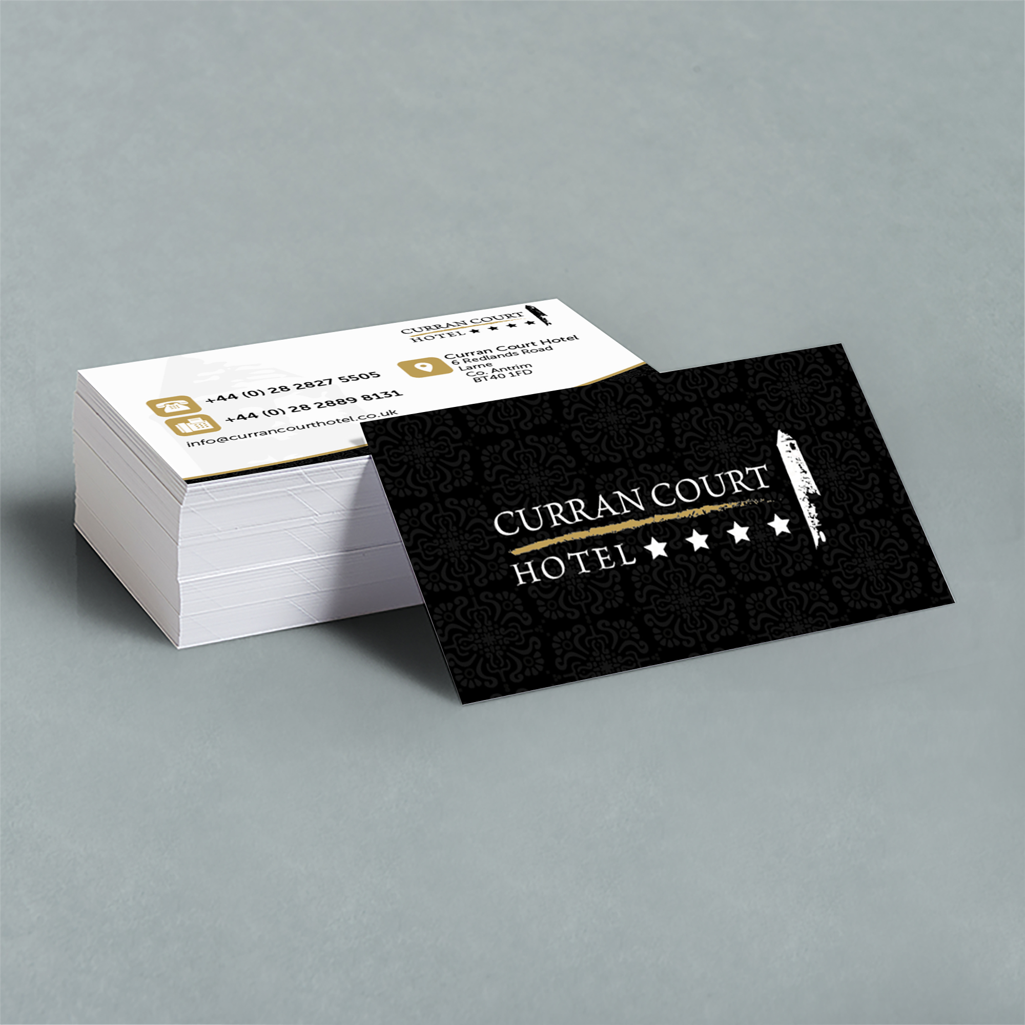 Curran court hotel 400gsm business cards stickin out creative colourmoves