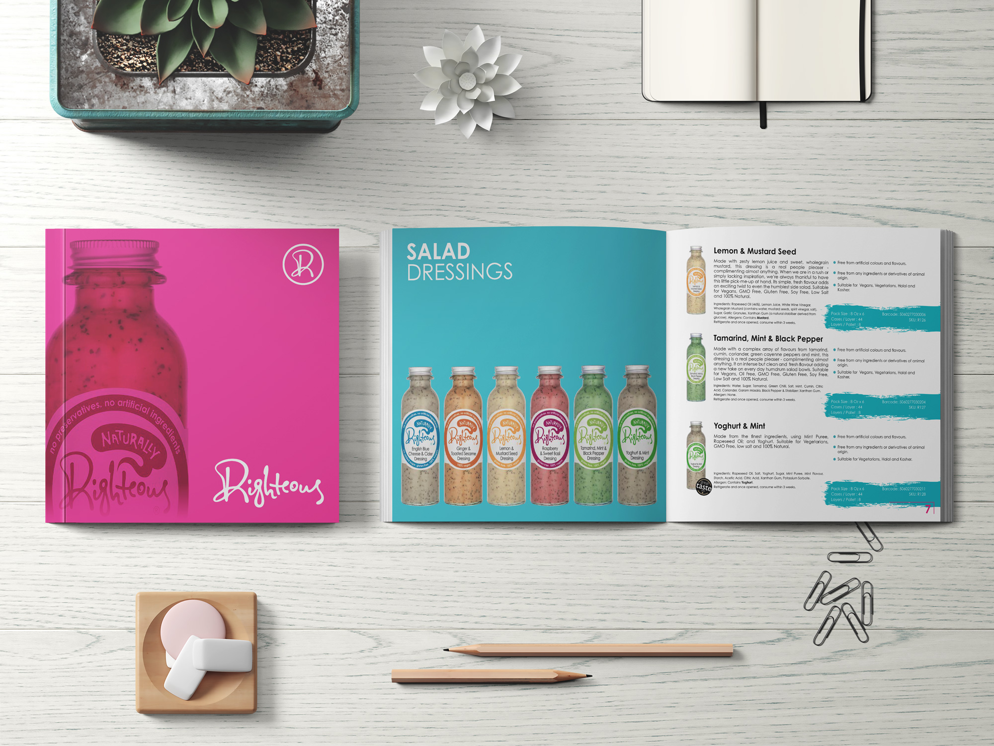 Righteous Salad Dressings | Product Labels | Product Mockups | Product Catalogue | Brochure